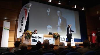 Roger Köppel, Christoph Blocher und Christoph Mörgeli an einem SVP-Event in Lausanne am 2. Oktober 2015.
