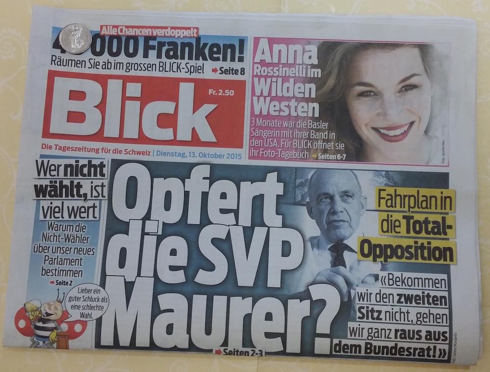 """""""Blick"""" vom 13. Oktober 2015"""
